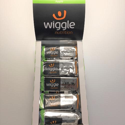 Wiggle-energiapatukoita laatikossa.