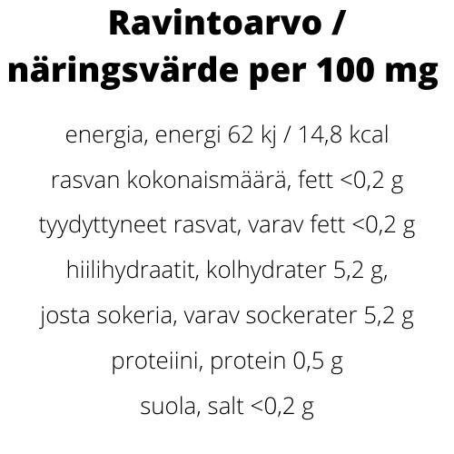 Rebeetin ravintoarvot/näringsvärde per 100 mg energia, energi 62 kj / 14,8 kcal, rasvan kokonaismäärä, fett