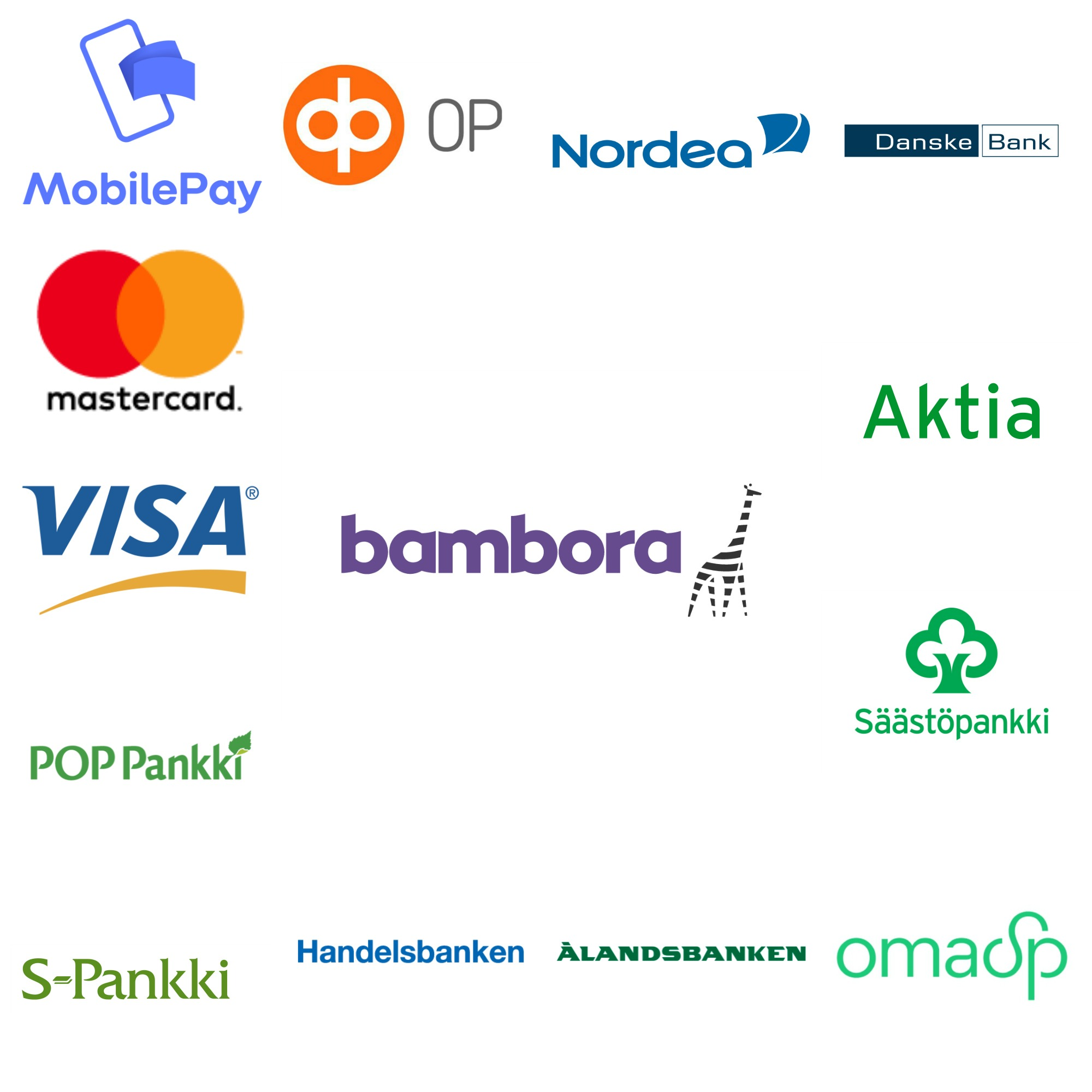 Maksunvälityspalvelu Bamboran tarjoamat maksutavat FysioJabetsu-verkkokaupassa: verkkopankkitunnukset, MobilePay tai maksukortit.